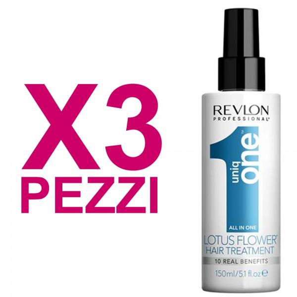 UNIQ ONE Kit All In One Hair Treatment Lotus Flower 3 Pezzi x 150ml