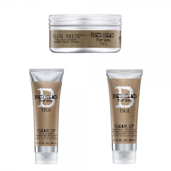 TIGI Kit Bed Head Clean Up Shampoo 250ml + Balsamo 200ml + Slick Trick 75gr